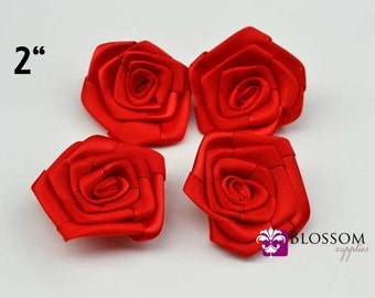 "Set of 4 flowers - RED - The Lydia Collection - 2"" Satin Rolled Ribbon Flowers - DIY Flower Headbands - Petite Rosettes"