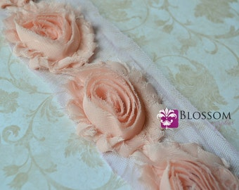 1/2 or 1 YARD Increment - APRICOT - Chiffon Shabby Rose Trim - Frayed Flowers - Headband Flowers - Peach flowers roses wholesale supplies