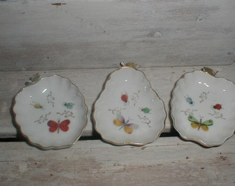 Three Lenwile Ardalt Handpainted Trinket Dishes *Ruffled Fruit Shapes With Butterflies& Ladybugs*