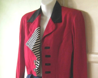 Cool Red Vintage Nautical Jacket; Sailor Stripe Placket - Small Red Military Top - Sgt Pepper - '80s New Romantic Red Blazer; Shoulder Pads