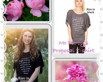 "Jane Austen T shirt, Mr Darcy's Proposal, Pride & Prejudice Literary, Dolman Black Flowy Top,  ""You must allow me to..."" S, M, L, Xl, Uk"