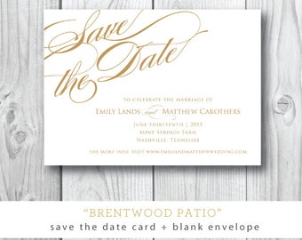 Brentwood Patio Printed Save the Date | Save the Date Card and Envelope | Printed or Printable by Darby Cards