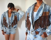 Vtg Fringed Acid Wash Leopard Print Leather Buckled Denim Jacket