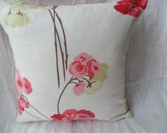 """Modern pink, cream pistachio green flowered 16"""" x 16"""" cushion cover, scatter cushion, pillow case"""