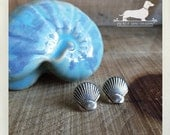 Silver Seashell. Post Earrings -- (Nautical, Beach, Shell, Ocean, Vintage-Style, Small, Cute, Summer Fashion, Preppy, Gift for Her Under 10)