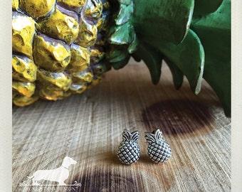 Pineapple. Post Earrings -- (Vintage-Style, Pineapple Studs, Summer, Pineapple Earrings, Hawaii, Cute, Silver, Bridesmaid Jewelry, Under 15)