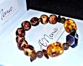 "Men's Bracelet : Genuine Semi-Precious Gemstones, Amethyst, Jasper, Amber & Wood  ""I Am Calm"" By  ANena Jewelry"