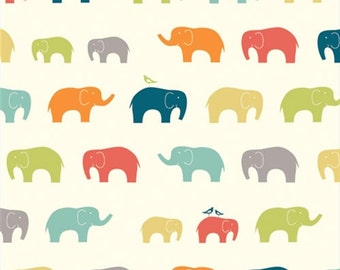 Birch - Just for Fun multi elephant fabric - organic cotton - 1/2 YD