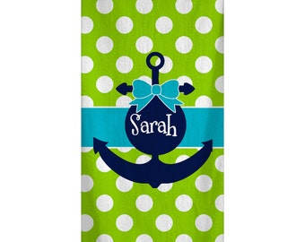 Personalized Custom Lime Dot Bow Anchor Beach Towel 30x60