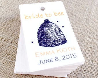 Bride to Bee Favor Tag, Personalized Wedding Shower Favor Tag, Gift Tag - Set of 50