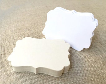 Small Bracket Cards, Wedding Favor Tags, Blank Gift Tags, Hanging Tags, White Ivory - Pack of 25