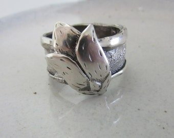 Bloom Ring - Sterling Silver Flower Ring -  Wide Band Ring - Handmade Statement Ring