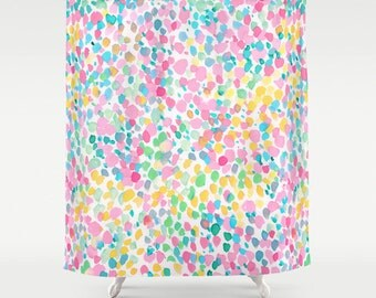 Pastel Dots Shower Curtain Watercolor Pattern Painting Whimsical Bathroom Decor
