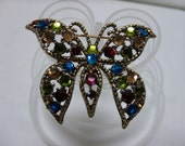 Vintage Weiss Rhinestone Butterfly Brooch Signed Multi Color Gold Tone