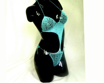 second cotton anniversary gift, fishnet organic cotton corset hand knitted in blue , size S-M , great original set great gift for wife