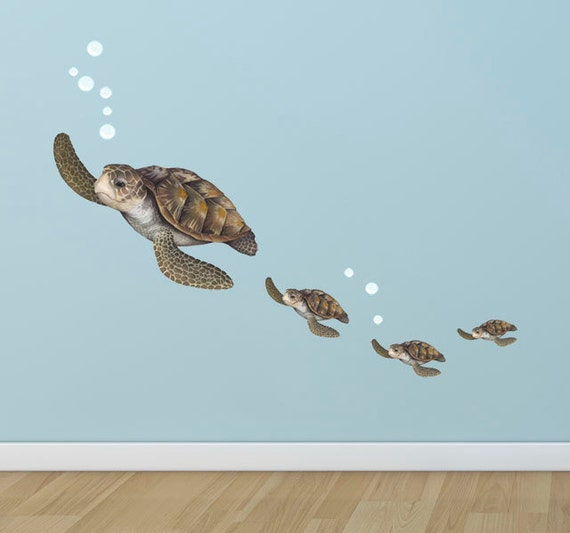 kids wall decals ocean wall decals sea turtle family. Black Bedroom Furniture Sets. Home Design Ideas