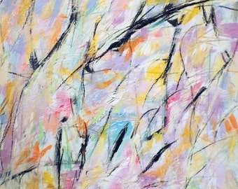 Us 6-15-15  (abstract expressionist painting, pink, yellow, white, yellow, gold, purple, blue, green)