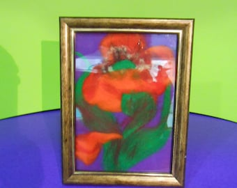 felted picture with frame
