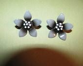 Vintage Two Shades Of Gray Enamel Flower Clip On Earrings