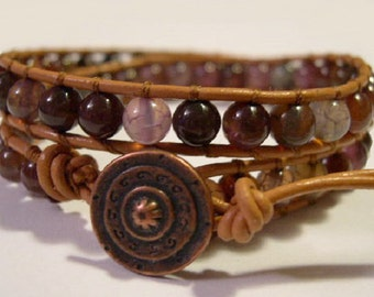 Wrap bracelet, Boho wrap bracelet, Beaded Leather wrap bracelet, Agate, Beaded Bracelet - 690