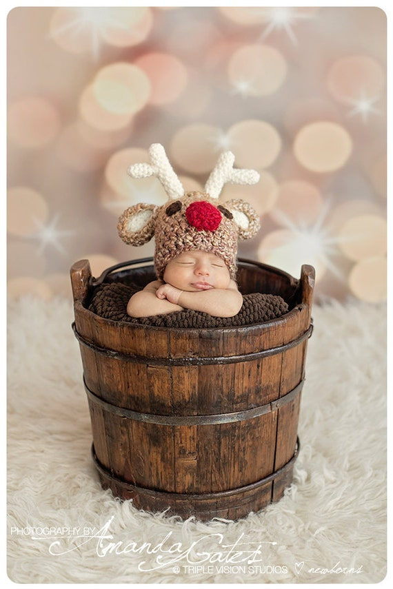 Children's Santa's Rudolf The Red Nose Reindeer Christmas Holiday Crochet Plush Hat 0-5 Years