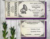 Vintage Gramophone Wedding Ticket Invitation and RSVP, Steampunk Wedding Invitation, Printable Ticket Invitation, Antique Theme