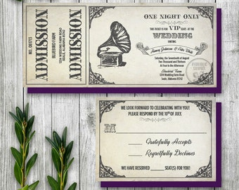 Vintage Gramophone Wedding Ticket Invitation and RSVP, Steampunk Wedding Invitation, Printable Ticket Invitation, Antique Theme