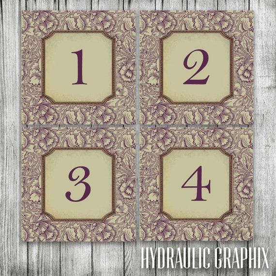 Antique Wedding Table Numbers, Rustic Square Table Signs, Earthy Wedding Seating Plan, Vintage Floral Numbers for Wedding Reception Tables