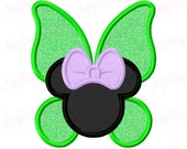 Fairy Miss Mouse Head Silhouette Applique Embroidery Applique Design 2.5x2.5 4x4 5x7 6x10 Girl Girly Bow INSTANT DOWNLOAD