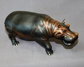 """INCREDIBLY DETAILED Bronze HIPPOPOTAMUS """"Hippopotamus"""" Hippo Figurine Statue Sculpture Art / Limited Edition / Signed & Numbered"""