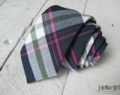 Navy Plaid Necktie~Cotton Necktie~Anniversary Gift~Wedding Tie~Mens Necktie~Cotton Tie~Mens Tie~Boys Necktie~Boys Tie~Navy Pink Green Tie