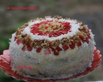 Vegan Vanilla Carrot Coconut Strawberry Birthday Cake, love, animal free cruelty,no eggs,no dairy.