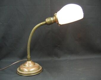5312 All Brass Industrial Goose Neck Desk Lamp 1920's Rewired Vintage Milk Glass Shade