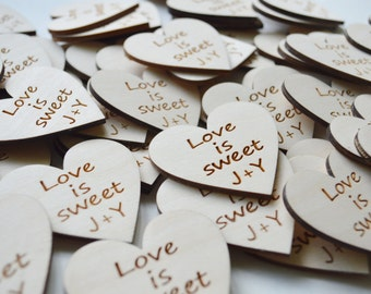 Bulk listing of 75 Personalized Wooden Hearts, Wedding Favors, Wood Hearts, Heart Tags, Heart Favors, Hearts, Personalized Heart, Wood Heart