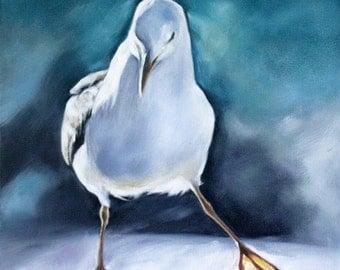 Art, Art Print, Seagull, Seagull Print, Blue, Bird Print, Nautical, 8x8