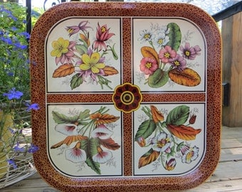 Daher Metal Tray, Vintage Tray, Made in England, Tray with Flowers, Vintage Serving Tray, Daher Flower Tray