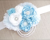Vintage Couture Baby Blue and White MATERNITY SASH - Beautiful Boy or Girl Maternity or Newborn or Wedding Photo Prop