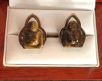 Rare Original Vintage SWANK Oriental Dynasty Tiger Eye Buddha Cufflinks