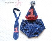 Too If By Sea -- Birthday Cake Smash Nautical Outfit Including Anchor Diaper Cover, Hat, and Neck Tie