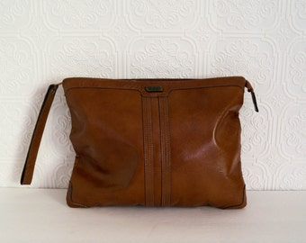 Vintage Brown Clutch by Phillipe Tablet iPad Case Zippered Pouch 1970s