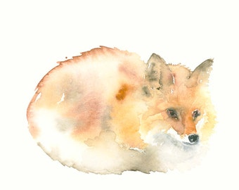 Fox Original Watercolor Painting
