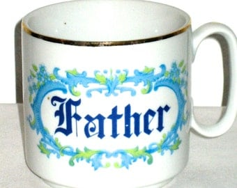 Vintage ceramic Father cup gold rim Father's Day gift