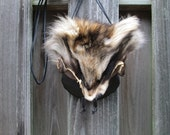 Leather Viking Purse, Fur Leather Bag, Pouch - Medieval, Renaissance - Dark Brown with Racoon Face Fur Flap