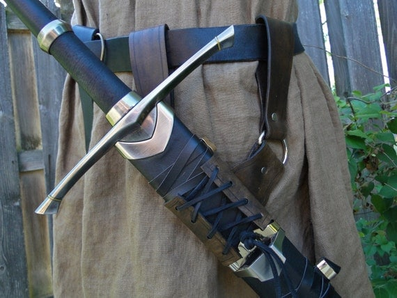 Leather Sword Holder, Belt Hanger, Frog, Medieval Renaissance Accessory - Choose Color