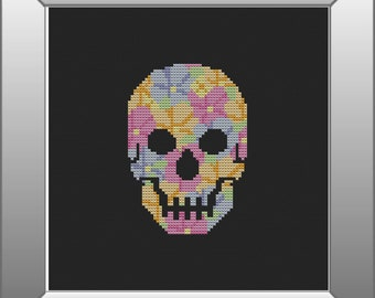 Skull Cross Stitch Pattern, PDF, Floral, Instant Download, DMC Threads