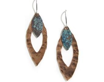 Rustic Layered Earrings - Copper Blue Earrings - Peach Blue Earrings- Leaves- Dangle Earrings -Hammered Leaf Earrings - Mixed Metal Earrings
