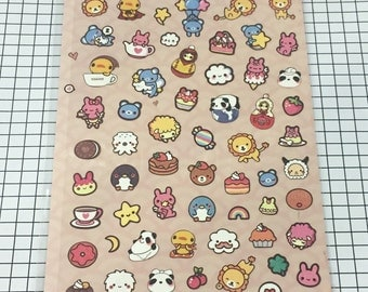 Cute stickers - 1 sheet - Animal theme stickers, Kawaii animal stickers paper stickers, Scrapbooking material supplies 1106