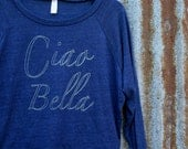 Ciao Bella // Handprinted Raglan Top // Long Sleeve // Crew Neck // Naby Blue // Italian