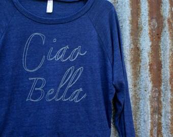 Ciao Bella // Handprinted Raglan Top // Long Sleeve // Crew Neck // Naby Blue // Italian