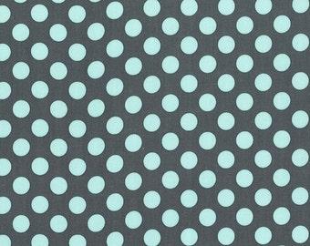 Ta Dot by Michael Miller - Powder Blue on Grey - 1/2 yard cotton quilt fabric 516